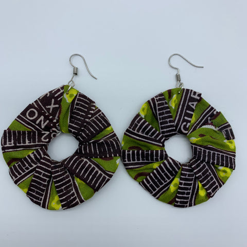 African Print Earrings-Faux Scrunchy Brown Variation