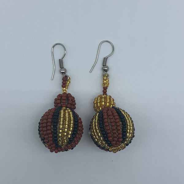 Beaded Earrings-Marble Gold Variation - Lillon Boutique