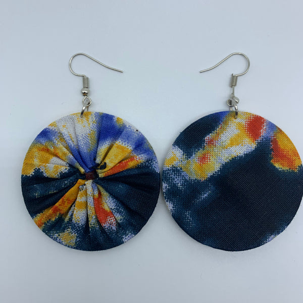 African Print Earrings-Round S Blue Variation 15 - Lillon Boutique