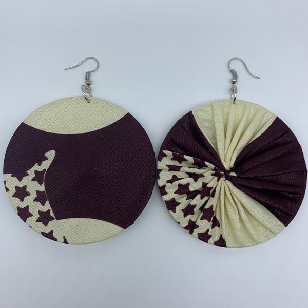 African Print Earrings-Round L Brown Variation 4 - Lillon Boutique
