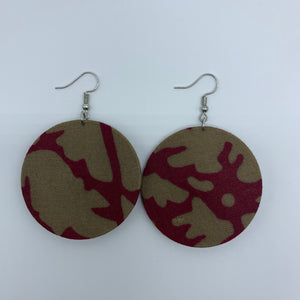 African Print Earrings-Round S Red Variation 3 - Lillon Boutique