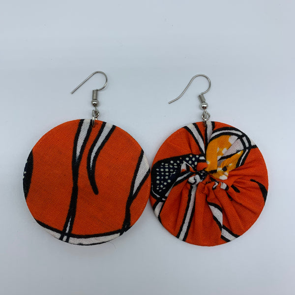 African Print Earrings-Round S Orange Variation 4 - Lillon Boutique