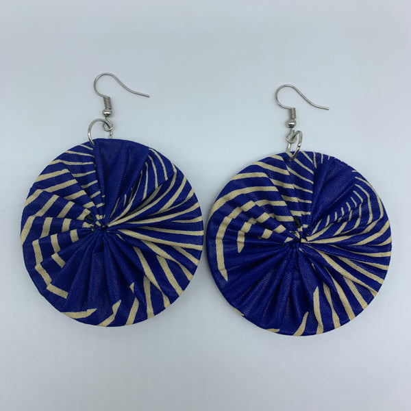 African Print Earrings-Round M Blue Variation 15