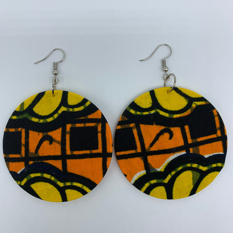 African Print Earrings-Round M Orange Variation