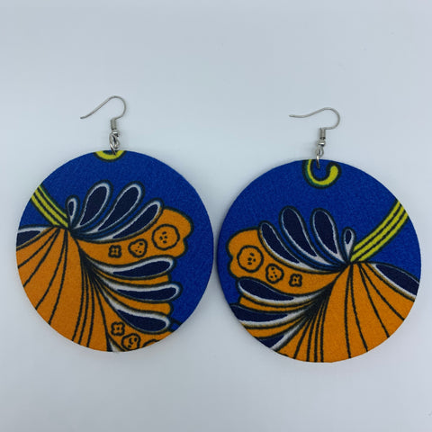 African Print Earrings-Round L Blue Variation 9