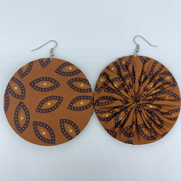 African Print Earrings-Round L Brown Variation 8 - Lillon Boutique