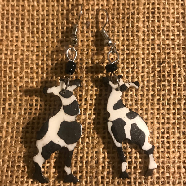 Cow Bone Earrings-Giraffe - Lillon Boutique