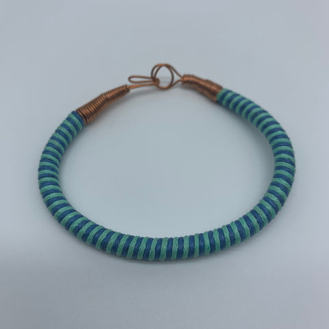 Thread W/Metal Wire Bracelet-Blue Variation - Lillon Boutique