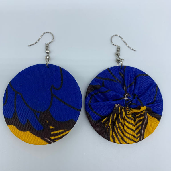 African Print Earrings-Round S Blue Variation 8 - Lillon Boutique