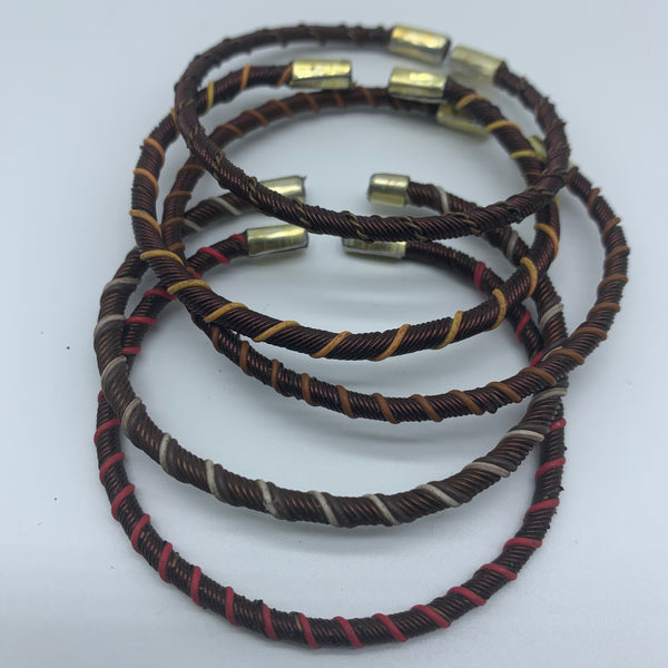 Telephone Wire W/Metal Wire Bracelet-Red Variation 2 - Lillon Boutique