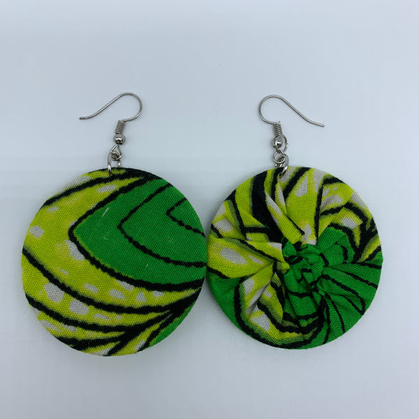African Print Earrings-Round S Green Variation 16