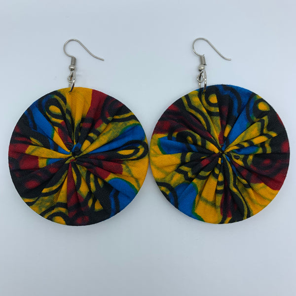 African Print Earrings-Round M Yellow Variation - Lillon Boutique