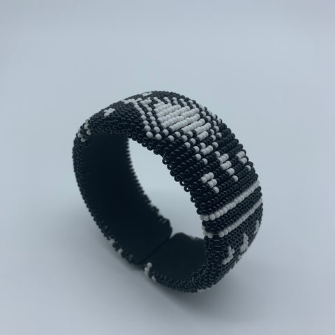 Beaded Bangle-Jumbo Black and White 2 - Lillon Boutique