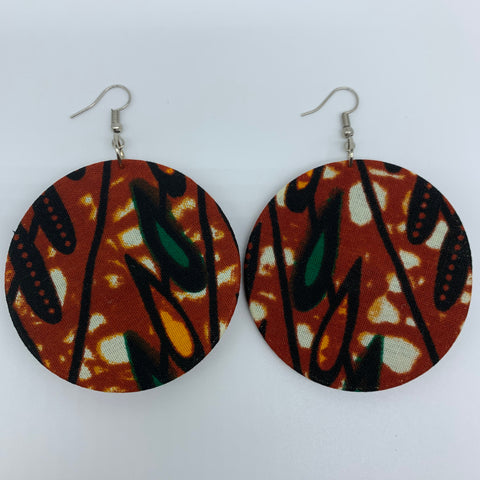 African Print Earrings-Round M Brown Variation 4