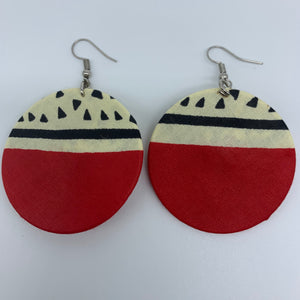 African Print Earrings-Round S Red Variation 13
