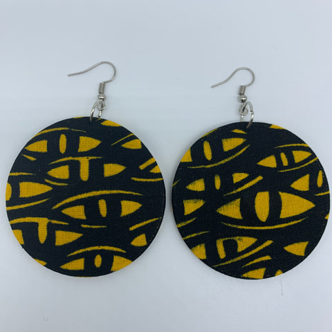 African Print Earrings-Round M Yellow Variation 4