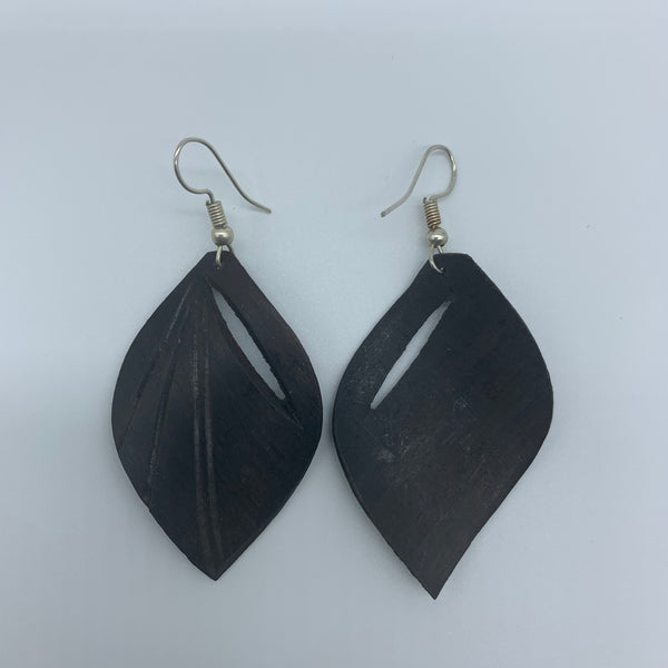 Wood Earrings- Leaf - Lillon Boutique