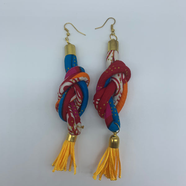 African Print Earrings-Knotted L Red Variation