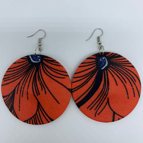 African Print Earrings-Round M Orange Variation 4