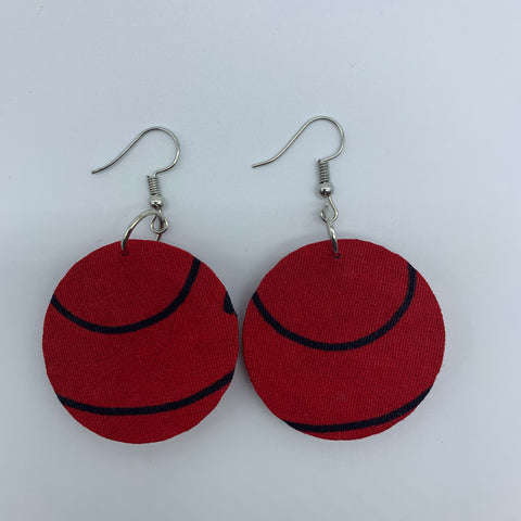 African Print Earrings-Round XS Red Variation - Lillon Boutique