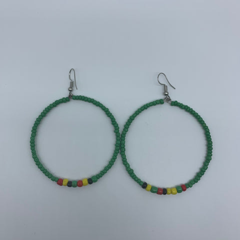 Beaded Earrings-Hoop Green Variation - Lillon Boutique