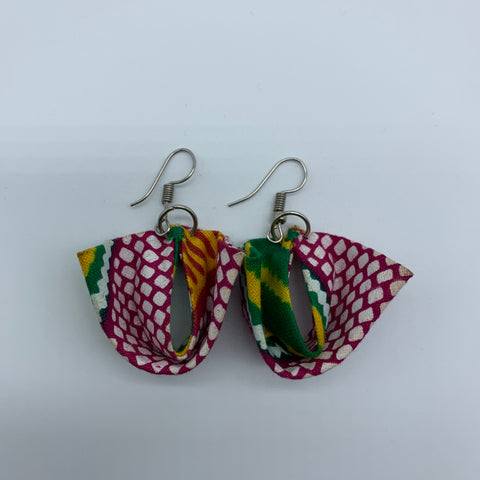 African Print Earrings-Folded Pink Variation - Lillon Boutique