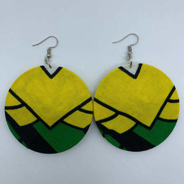 African Print Earrings-Round M Yellow Variation 2 - Lillon Boutique