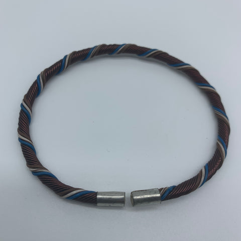 Telephone Wire W/Metal Wire Bracelet-Blue Variation 2 - Lillon Boutique