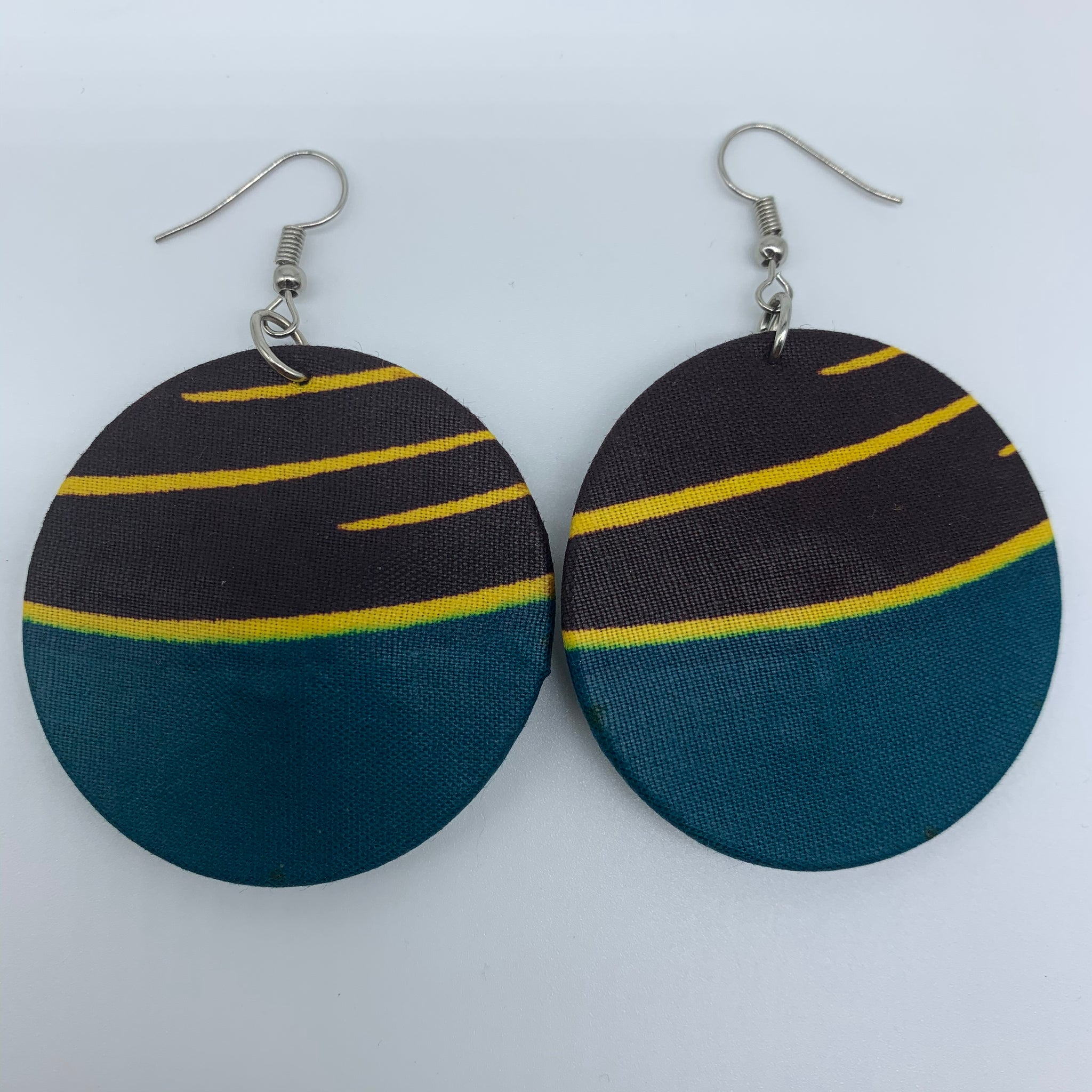 African Print Earrings-Round S Blue Variation 12