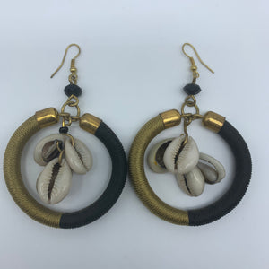 Thread Earrings W/Shells-Black Variation - Lillon Boutique