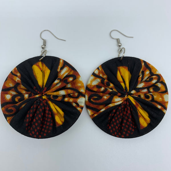 African Print Earrings-Round M Brown Variation 5