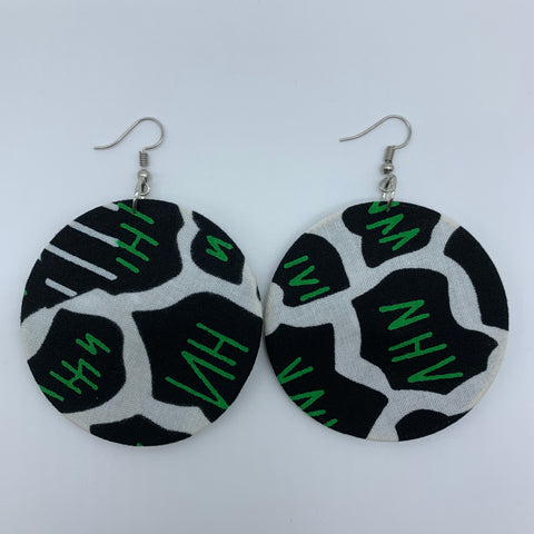 African Print Earrings-Round M Black Variation 5 - Lillon Boutique