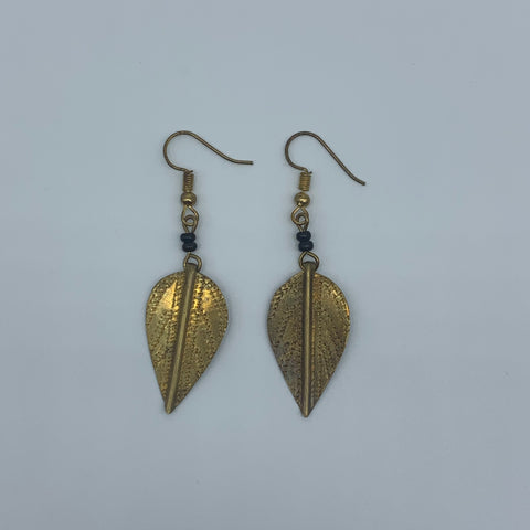 Brass Earrings-Leaf - Lillon Boutique