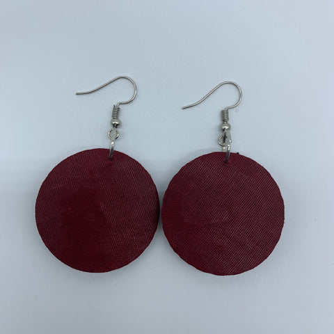 African Print Earrings-Round XS Red Variation 7