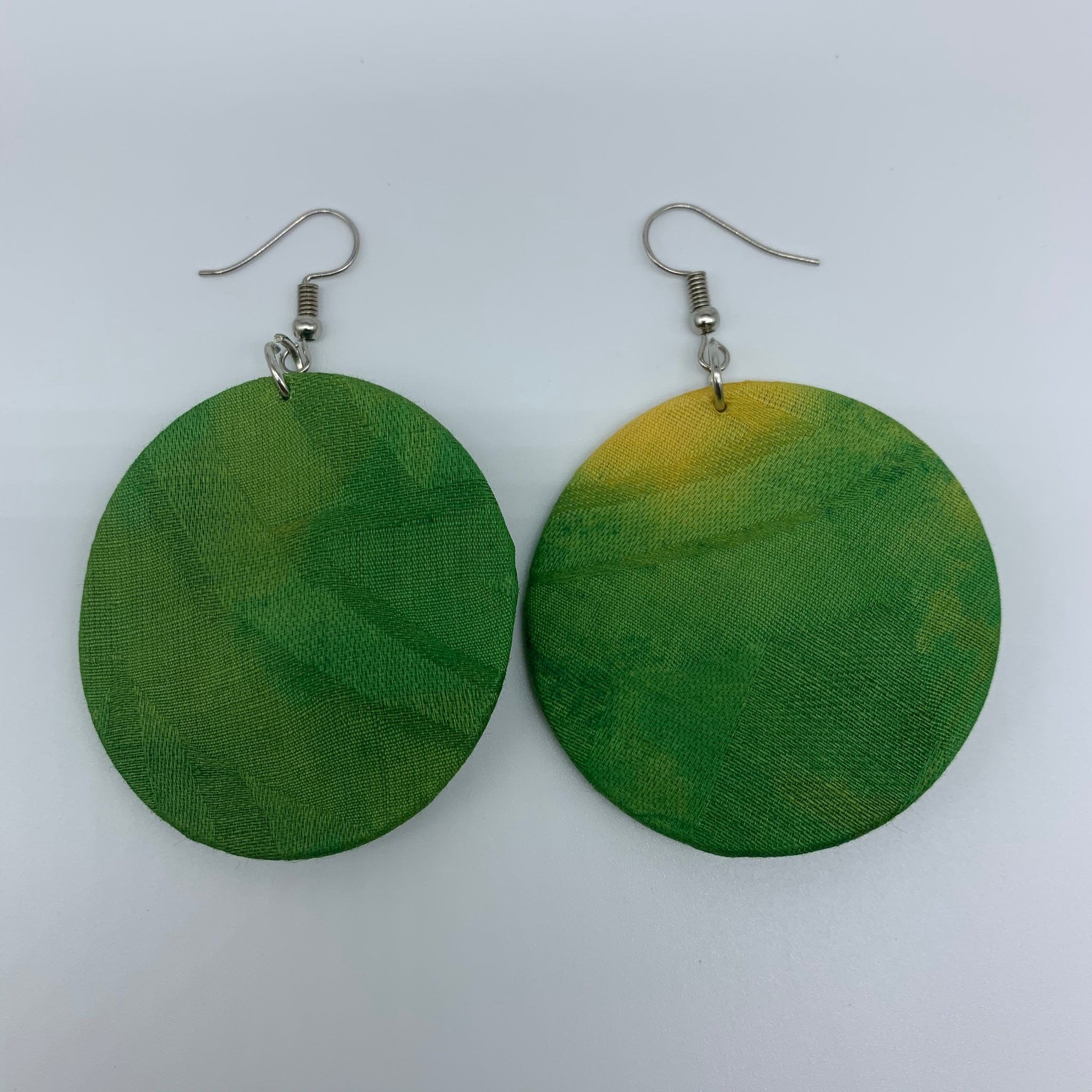 African Print Earrings-Round S Green Variation 6 - Lillon Boutique