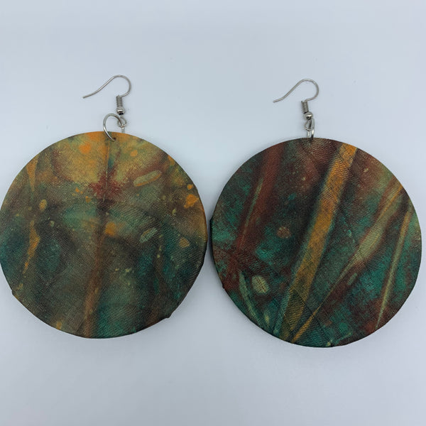 African Print Earrings-Round L Green Variation 5