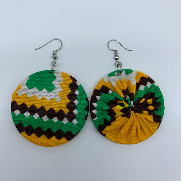 African Print Earrings-Round S Yellow Variation 5 - Lillon Boutique