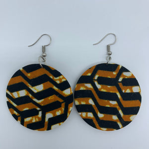 African Print Earrings-Round S Brown Variation - Lillon Boutique
