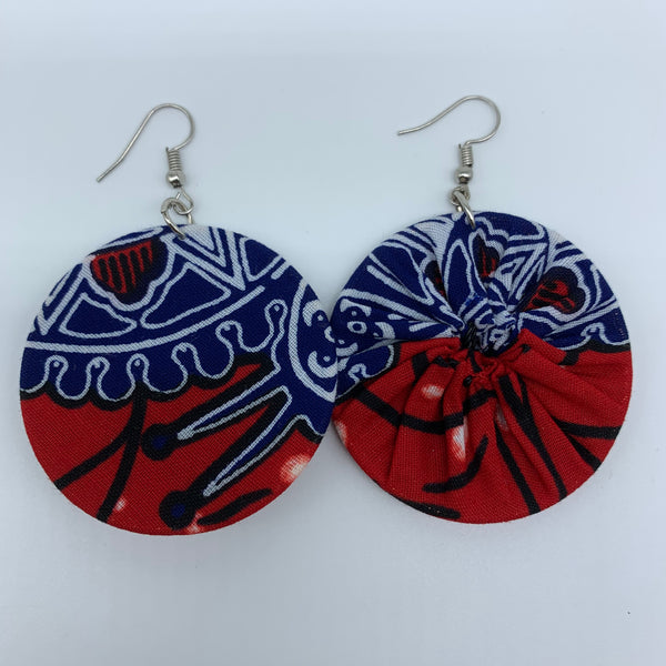 African Print Earrings-Round S Red Variation 7 - Lillon Boutique