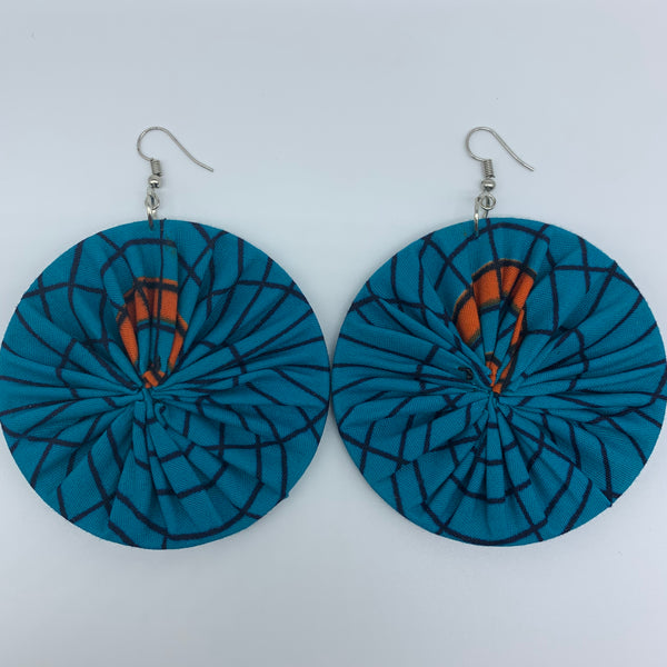 African Print Earrings-Round L Blue Variation 2