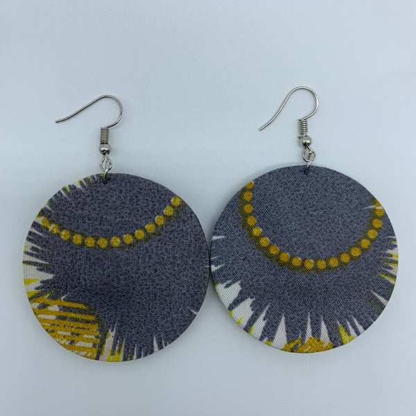 African Print Earrings-Round S Yellow Variation 6