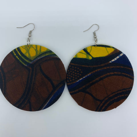 African Print Earrings-Round L Brown Variation 7