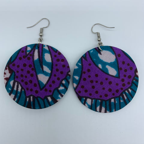 African Print Earrings-Round S Blue Variation 17