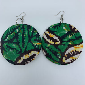African Print Earrings-Round L Green Variation