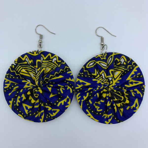 African Print Earrings-Round M Blue Variation 6 - Lillon Boutique