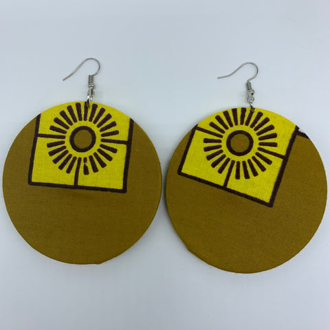 African Print Earrings-Round L Yellow Variation 2