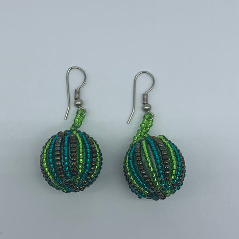 Beaded Earrings-Marble Green Variation 2 - Lillon Boutique