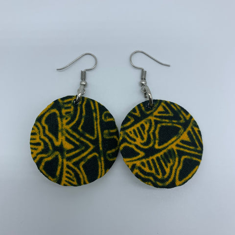 African Print Earrings-Round XS Yellow Variation 2 - Lillon Boutique