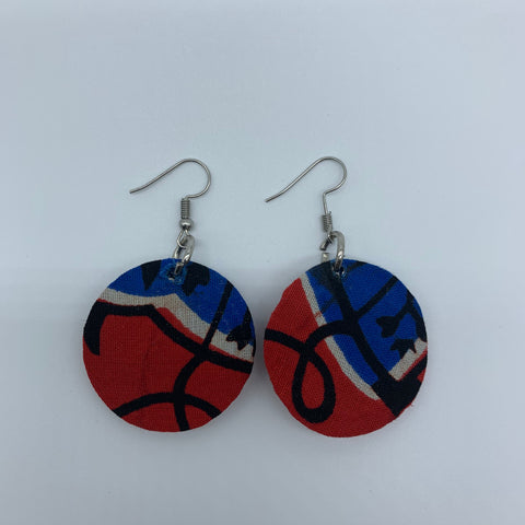 African Print Earrings-Round XS Red Variation 3 - Lillon Boutique