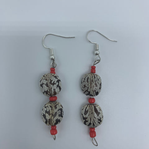 Seeds Earrings-White Variation with Red Beads